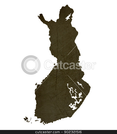 Dark silhouetted map of Finland stock photo, Dark silhouetted and textured map of Finland isolated on white background. by Martin Crowdy