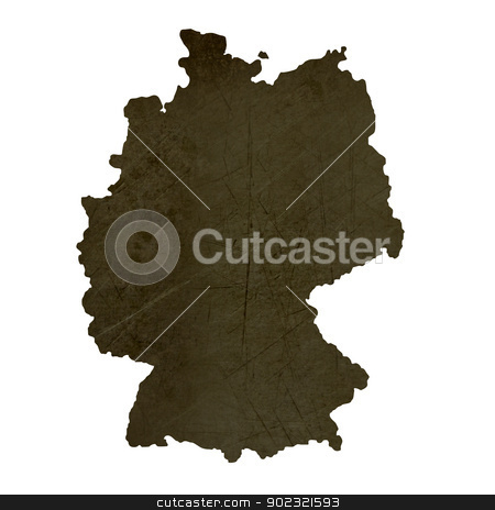 Dark silhouetted map of Germany stock photo, Dark silhouetted and textured map of Germany isolated on white background. by Martin Crowdy
