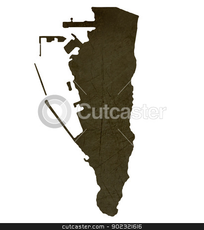 Dark silhouetted map of Gibraltar stock photo, Dark silhouetted and textured map of Gibraltar isolated on white background. by Martin Crowdy