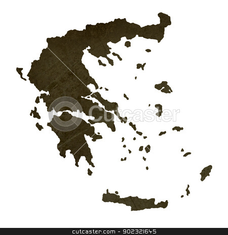 Dark silhouetted map of Greece stock photo, Dark silhouetted and textured map of Greece isolated on white background. by Martin Crowdy