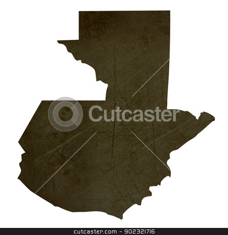 Dark silhouetted map of Guatemala stock photo, Dark silhouetted and textured map of Guatemala isolated on white background. by Martin Crowdy