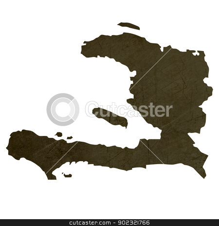 Dark silhouetted map of Haiti stock photo, Dark silhouetted and textured map of Haiti isolated on white background. by Martin Crowdy