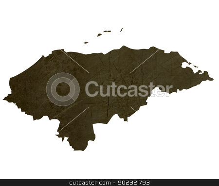 Dark silhouetted map of Honduras stock photo, Dark silhouetted and textured map of Honduras isolated on white background. by Martin Crowdy