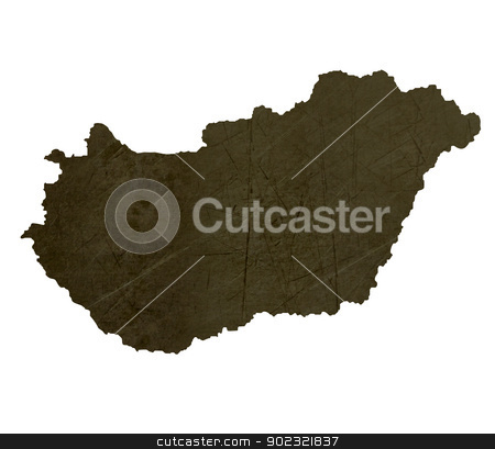 Dark silhouetted map of Hungary stock photo, Dark silhouetted and textured map of Hungary isolated on white background. by Martin Crowdy