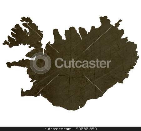 Dark silhouetted map of Iceland stock photo, Dark silhouetted and textured map of Iceland isolated on white background. by Martin Crowdy