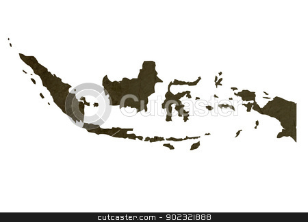 Dark silhouetted map of Indonesia stock photo, Dark silhouetted and textured map of Indonesia isolated on white background. by Martin Crowdy