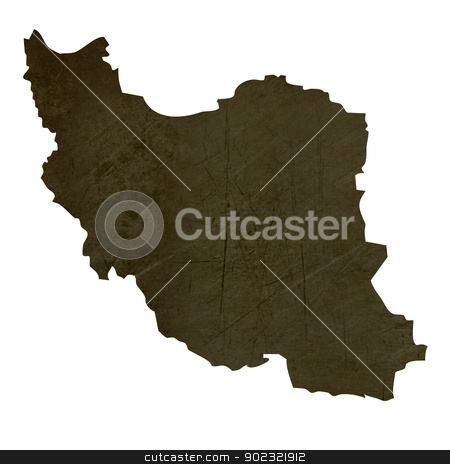 Dark silhouetted map of Iran stock photo, Dark silhouetted and textured map of Iran isolated on white background. by Martin Crowdy