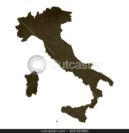 Dark silhouetted map of Italy stock photo, Dark silhouetted and textured map of Italy isolated on white background. by Martin Crowdy