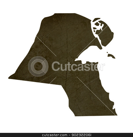 Dark silhouetted map of Kuwait stock photo, Dark silhouetted and textured map of Kuwait isolated on white background. by Martin Crowdy