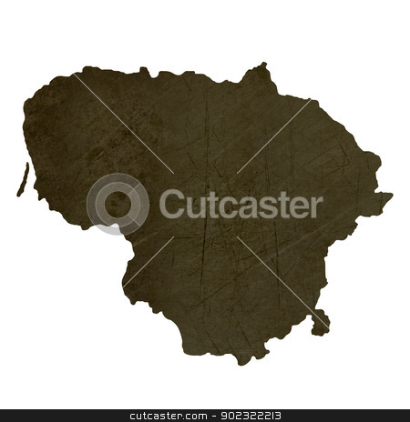 Dark silhouetted map of Lithuania stock photo, Dark silhouetted and textured map of Lithuania isolated on white background. by Martin Crowdy