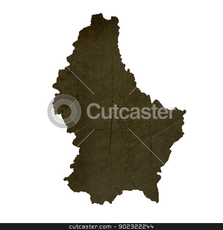Dark silhouetted map of Luxembourg stock photo, Dark silhouetted and textured map of Luxembourg isolated on white background. by Martin Crowdy