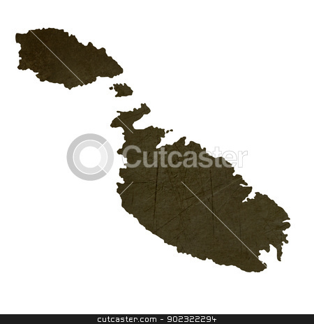 Dark silhouetted map of Malta stock photo, Dark silhouetted and textured map of Malta isolated on white background. by Martin Crowdy
