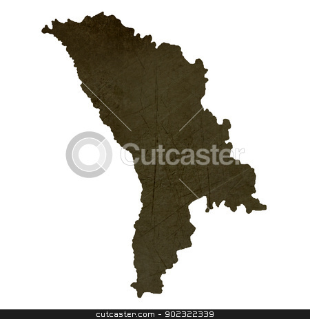 Dark silhouetted map of Moldova stock photo, Dark silhouetted and textured map of Moldova isolated on white background. by Martin Crowdy