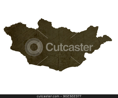 Dark silhouetted map of Mongolia stock photo, Dark silhouetted and textured map of Mongolia isolated on white background. by Martin Crowdy