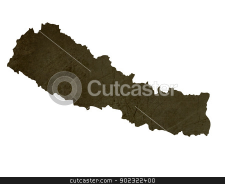 Dark silhouetted map of Nepal stock photo, Dark silhouetted and textured map of Nepal isolated on white background. by Martin Crowdy
