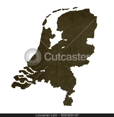Dark silhouetted map of Netherlands stock photo, Dark silhouetted and textured map of Netherlands isolated on white background. by Martin Crowdy