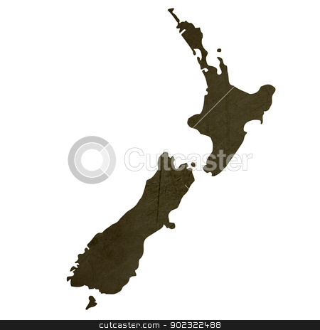 Dark silhouetted map of New Zealand stock photo, Dark silhouetted and textured map of New Zealand isolated on white background. by Martin Crowdy