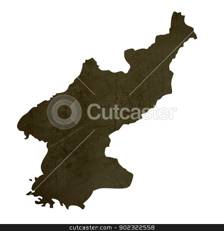 Dark silhouetted map of North Korea stock photo, Dark silhouetted and textured map of North Korea isolated on white background. by Martin Crowdy