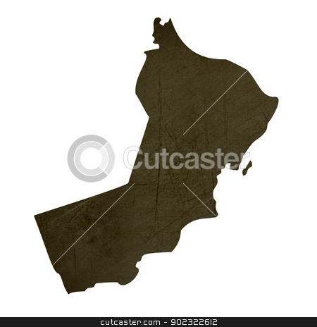 Dark silhouetted map of Oman stock photo, Dark silhouetted and textured map of Oman isolated on white background. by Martin Crowdy