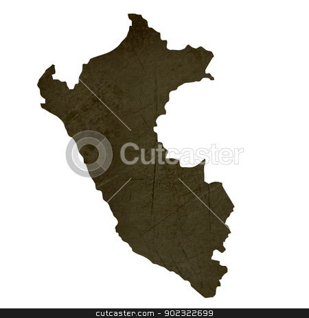 Dark silhouetted map of Peru stock photo, Dark silhouetted and textured map of Peru isolated on white background. by Martin Crowdy