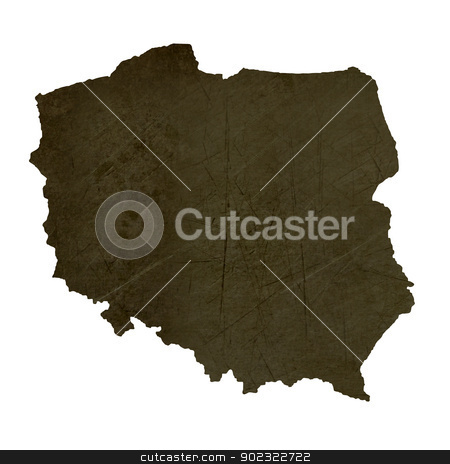 Dark silhouetted map of Poland stock photo, Dark silhouetted and textured map of Poland isolated on white background. by Martin Crowdy