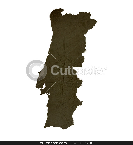 Dark silhouetted map of Portugal stock photo, Dark silhouetted and textured map of Portugal isolated on white background. by Martin Crowdy