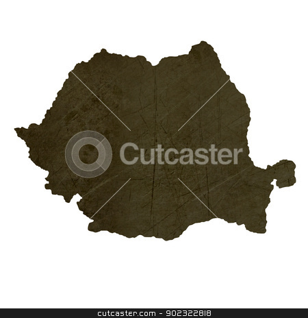 Dark silhouetted map of Romania stock photo, Dark silhouetted and textured map of Romania isolated on white background. by Martin Crowdy