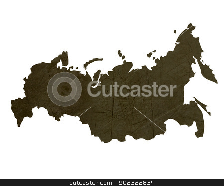 Dark silhouetted map of Russian Federation stock photo, Dark silhouetted and textured map of Russian Federation isolated on white background. by Martin Crowdy