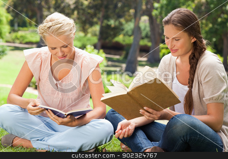 Friends reading books in the park stock photo, Female friends reading books in the park by Wavebreak Media