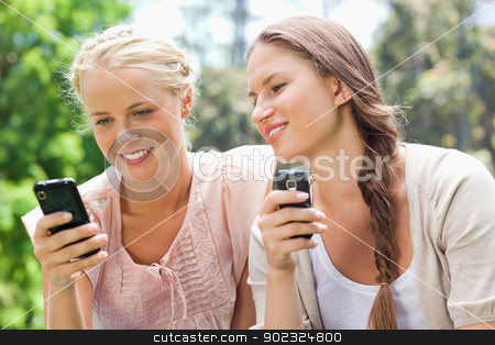 Friends with their cellphones stock photo, Female friends with their cellphones by Wavebreak Media