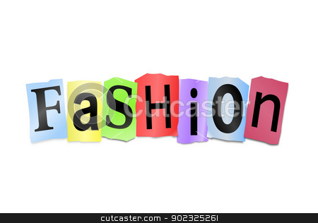 Fashion concept. stock photo, Illustration depicting cutout printed letters arranged to form the word fashion. by Samantha Craddock