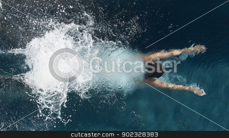 Above view of diving person stock photo, Above view of diving person in a pool by Wavebreak Media