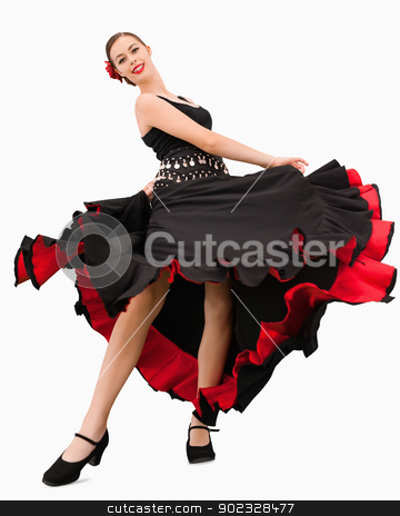 Dancing woman about to spin stock photo, Dancing woman about to spin against a white background by Wavebreak Media