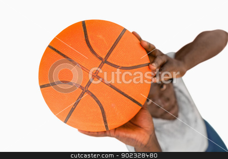 Overhead view of basketball player stock photo, Overhead view of basketball player against a white background by Wavebreak Media