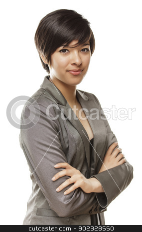 Pretty Young Mixed Race Young Adult Woman Portrait stock photo, Pretty Young Mixed Race Young Adult Woman Portrait Isolated on a White Background. by Andy Dean