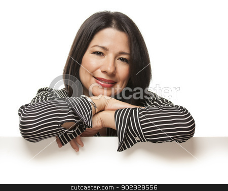 Attractive Mixed Race Woman Leaning on Blank White Sign stock photo, Attractive Mixed Race Woman Leaning on Blank White Sign Isolated on a White Background. by Andy Dean