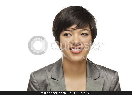 Young Adult Mixed Race Adult Looking to the Side stock photo, Pretty Young Adult Mixed Race Adult Looking to the Side Isolated on a White Background. by Andy Dean