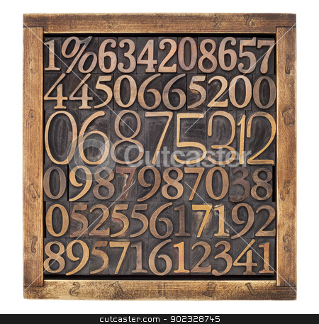 wood type numbers in box stock photo, box of numbers - numerical abstract - a variety of letterpress wood type printing blocks by Marek Uliasz