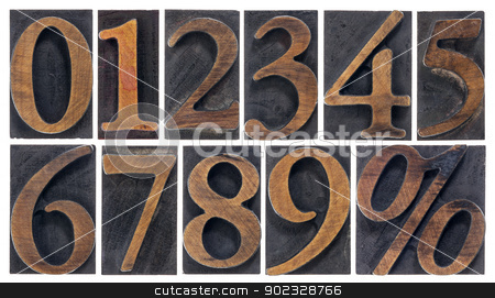 isolated numbers in wood type stock photo, a set of isolated 10 numbers from zero to nine and percent symbol - vintage letterpress wood type by Marek Uliasz