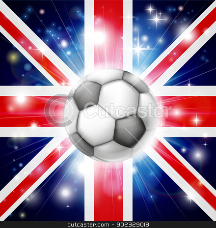 UK soccer flag stock vector clipart, Flag of UK soccer background with pyrotechnic or light burst and soccer football ball in the centre  by Christos Georghiou