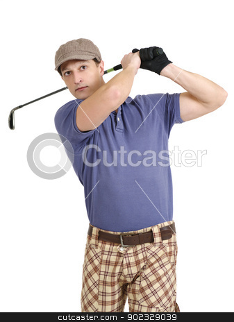 Golfer swinging his club stock photo, Photo of a male golfer in his late twenties finishing his swing with a wedge. by © Ron Sumners