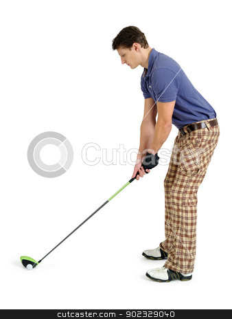 Golfer on white background stock photo, Photo of a male golfer in his late twenties about to swing his driver. by © Ron Sumners