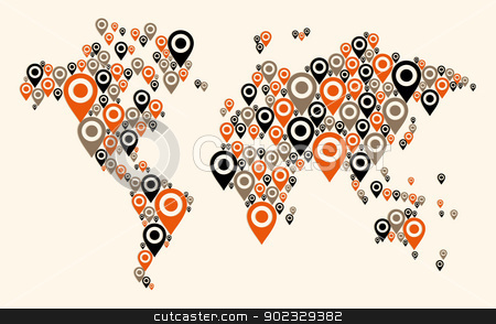 Gps world map background stock vector clipart, World map Gps navigator icon shape. Vector file layered for easy manipulation and custom coloring. by Cienpies Design