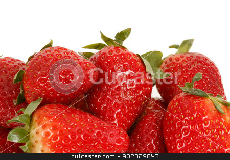 fresh strawberries isolated on white stock photo, fresh strawberries isolated on white background by Artush