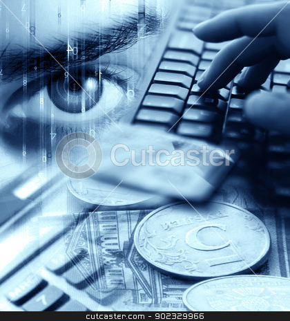 Abstract Background With Money  stock photo, Abstract Background With Money, Numbers, Wonan's Eye, Calculator, Computer Keyboard, Credit Cards And Hands by Olga Altunina
