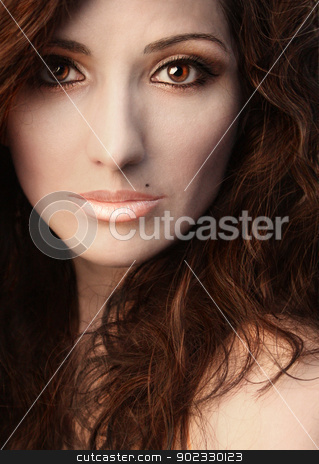 Portrait Beauty Woman stock photo, Portrait Brown-eyed Beauty Woman Close Up With Make-up by Olga Altunina