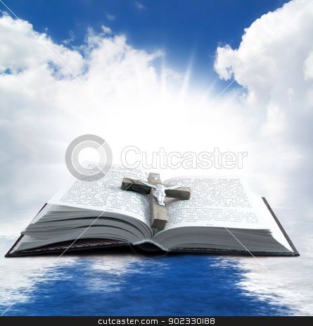 Holy book stock photo, Prayer Holy book on the background of clouds and sun by Olga Altunina