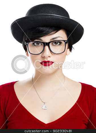 Nerd Girl stock photo, Beautiful girl wearing a hat and nerd glasses, isolated over white background by ikostudio