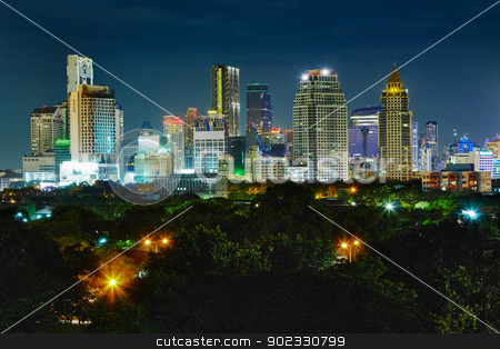 Shining lights of nighttime city stock photo, Shining lights of nighttime metropolis - the landscape by Alexey Romanov