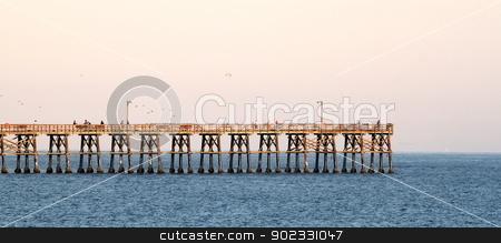 Goleta Pier stock photo, Goleta pier in the evening at sunset. by Henrik Lehnerer
